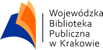Logo Wojewódzkiej Biblioteki Publicznej w Krakowie, logo połówki książki w kolorze pomarańczowym i niebieskim