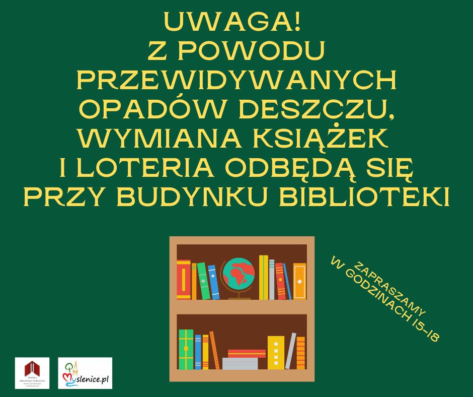Wymiana książek 16.07. 2021 – zmiana miejsca